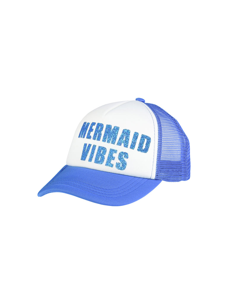 blue mermaid vibes trucker hat for girl miss flamingo kids