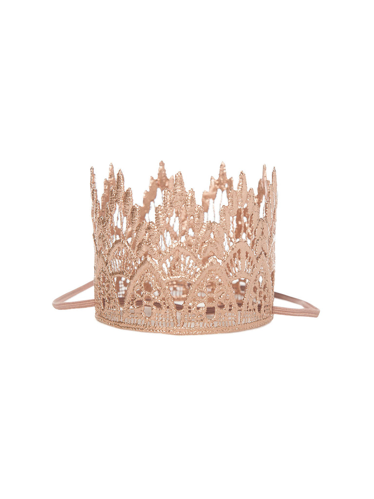 gold lace crown headband for hair miss flamingo kids