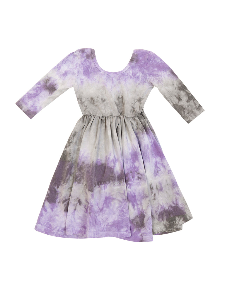 Girl Purple Organic Cotton Tie Dye Dress