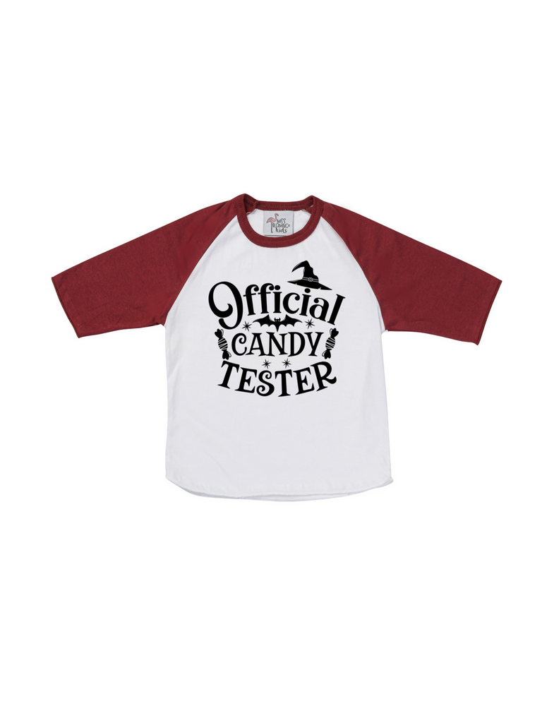 Boy Official Candy Tester Halloween Raglan Shirt