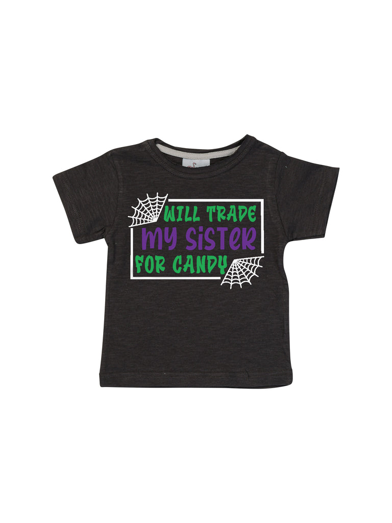 Boy Trade Sister for Candy Halloween Black Shirt