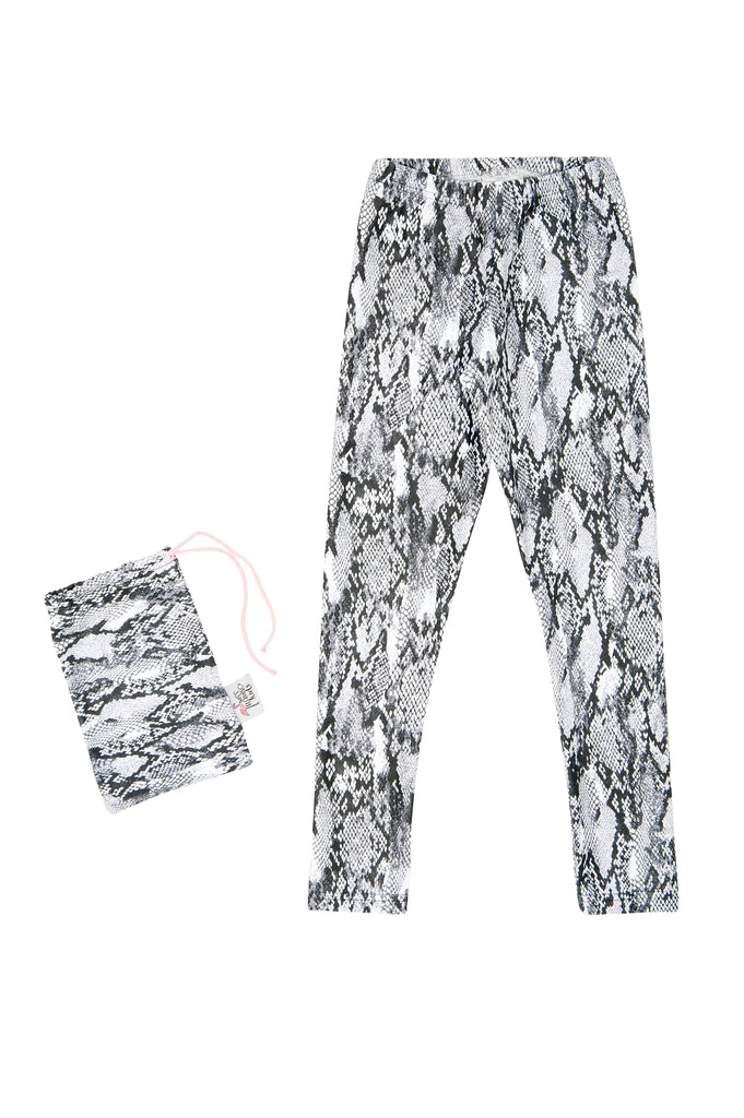 Girl Grey Snakeskin Elastic Legging