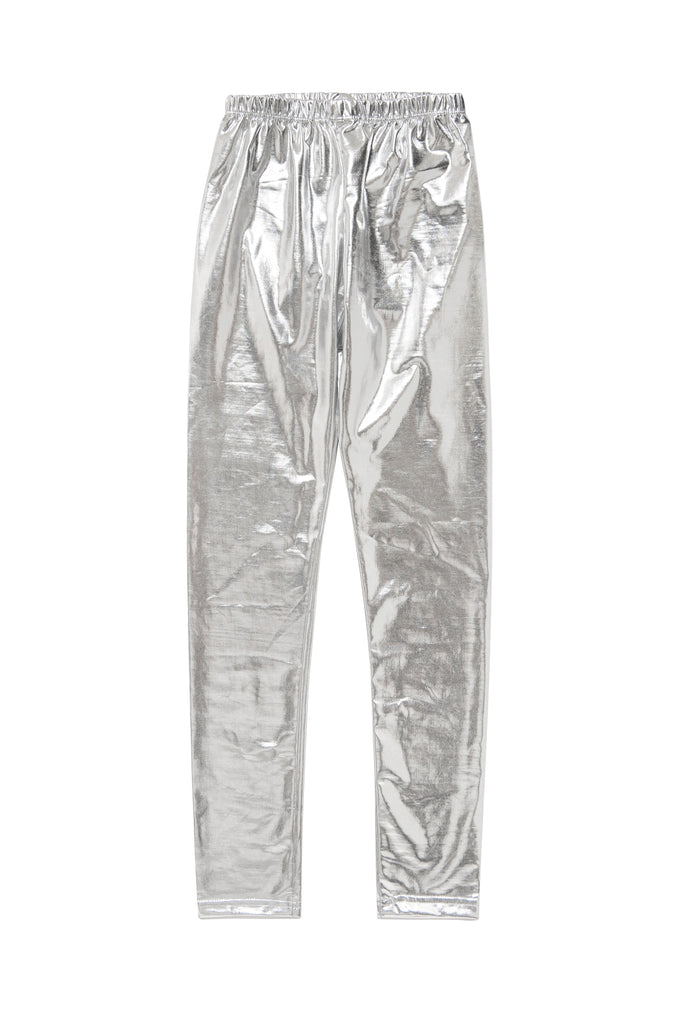 Girl Silver Metallic Legging
