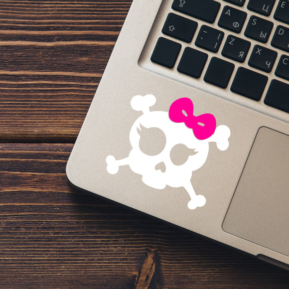 Skull with Bow and Lashes Vinyl Decal