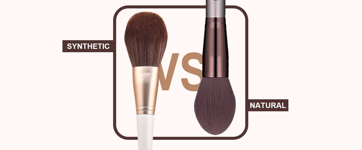 synthetic and natural makeup brushes