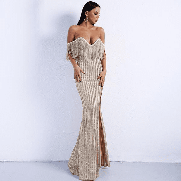 e3f1b668b7ba9 Women s Elegant Sexy V Neck Off Shoulder Tassel Glitter High Split Maxi  Dress - BAKAZON