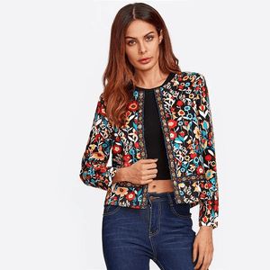 1a87aaf48a Press Button Placket Botanical Jacket Autumn Jacket for Women Multicolor  Collarless Single Breasted Elegant Jacket-