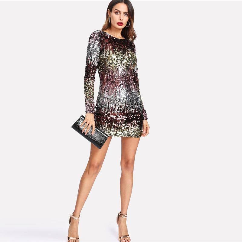 20092204 Iridescent Sequin Dress - Round Neck Long Sleeve Sexy Party Dress With  Zipper. Size Guide