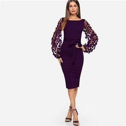 8e8705ac89 Purple Party Elegant Solid Flower Applique Mesh Sleeve Form Fitting Skinny  Pencil Dress Autumn Office Lady