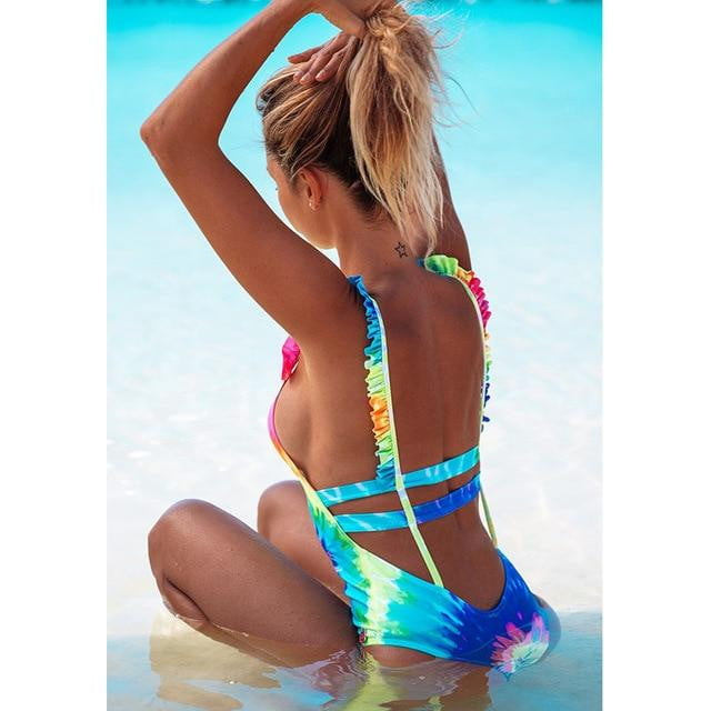 abf64267abc34 Sexy One Piece Lace One Shoulder Swimwear Bathing Suits. Size Guide. Size  Information