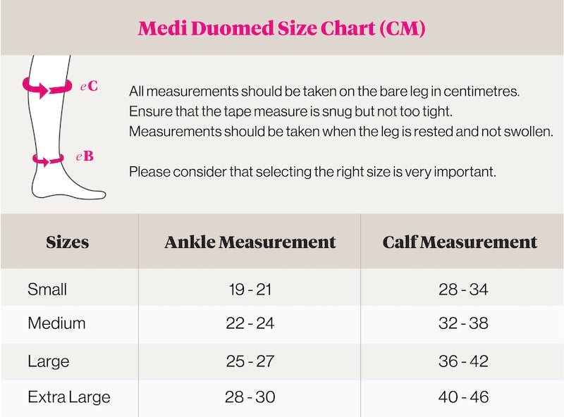 medi duomed size chart knee high