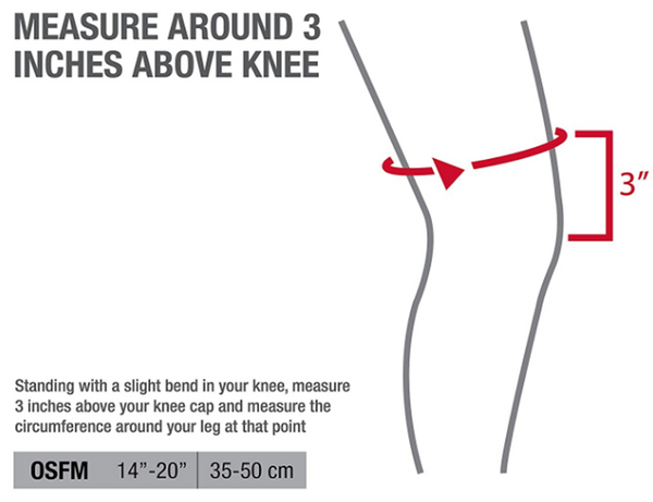 mueller self adjusting knee stabilizer size guide