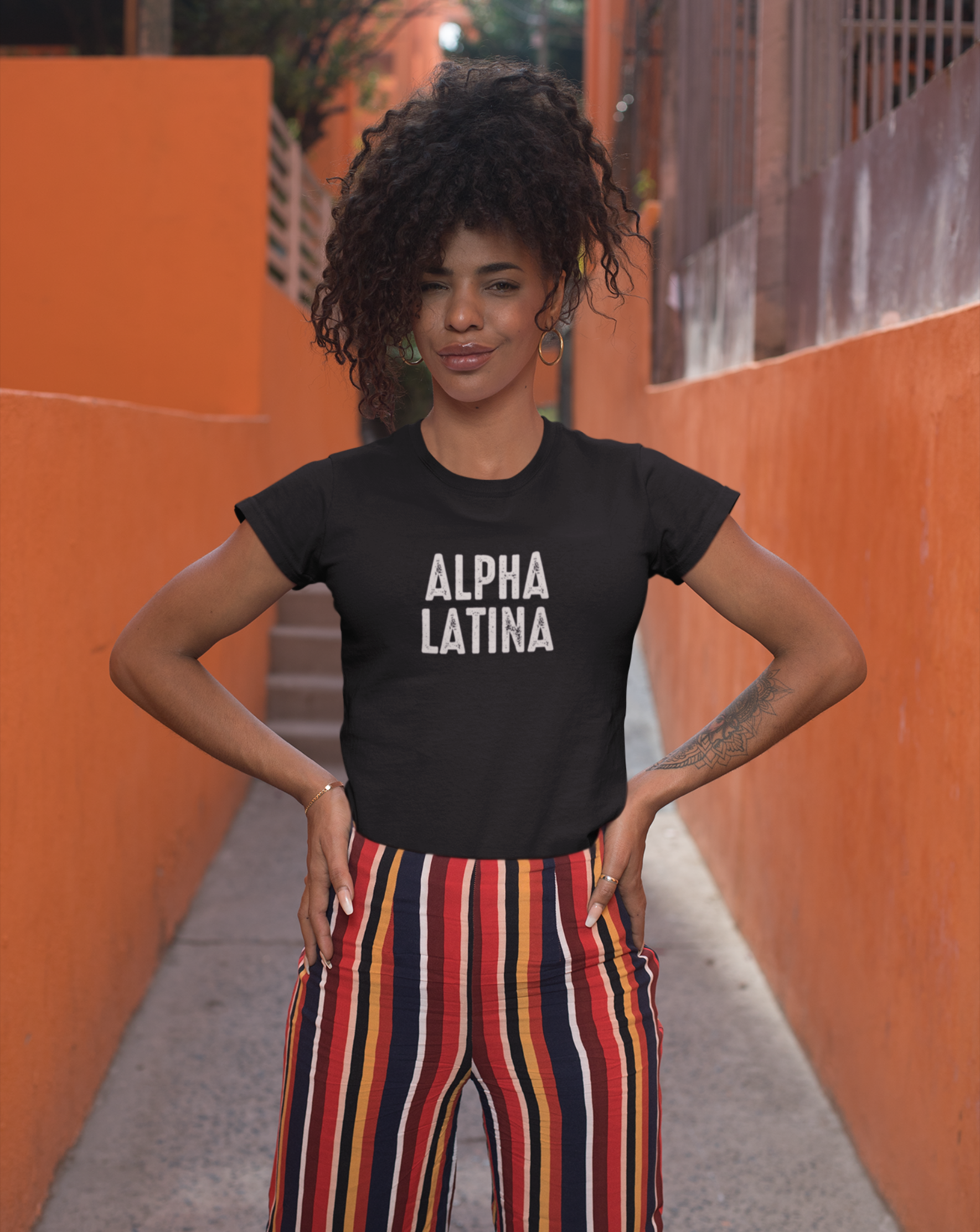 Alpha Latina Black Ultra Soft Short Sleeve Tee