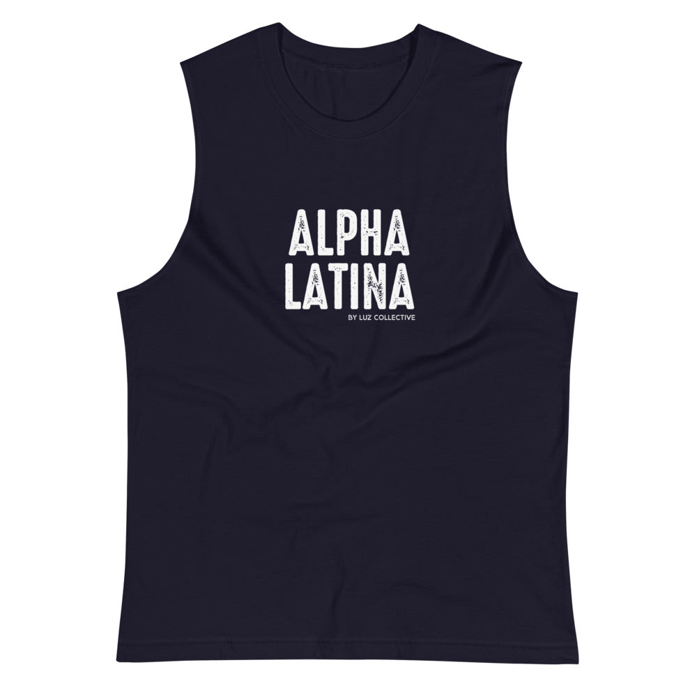 Alpha Latina women's empowerment Navy Muscle Shirt small