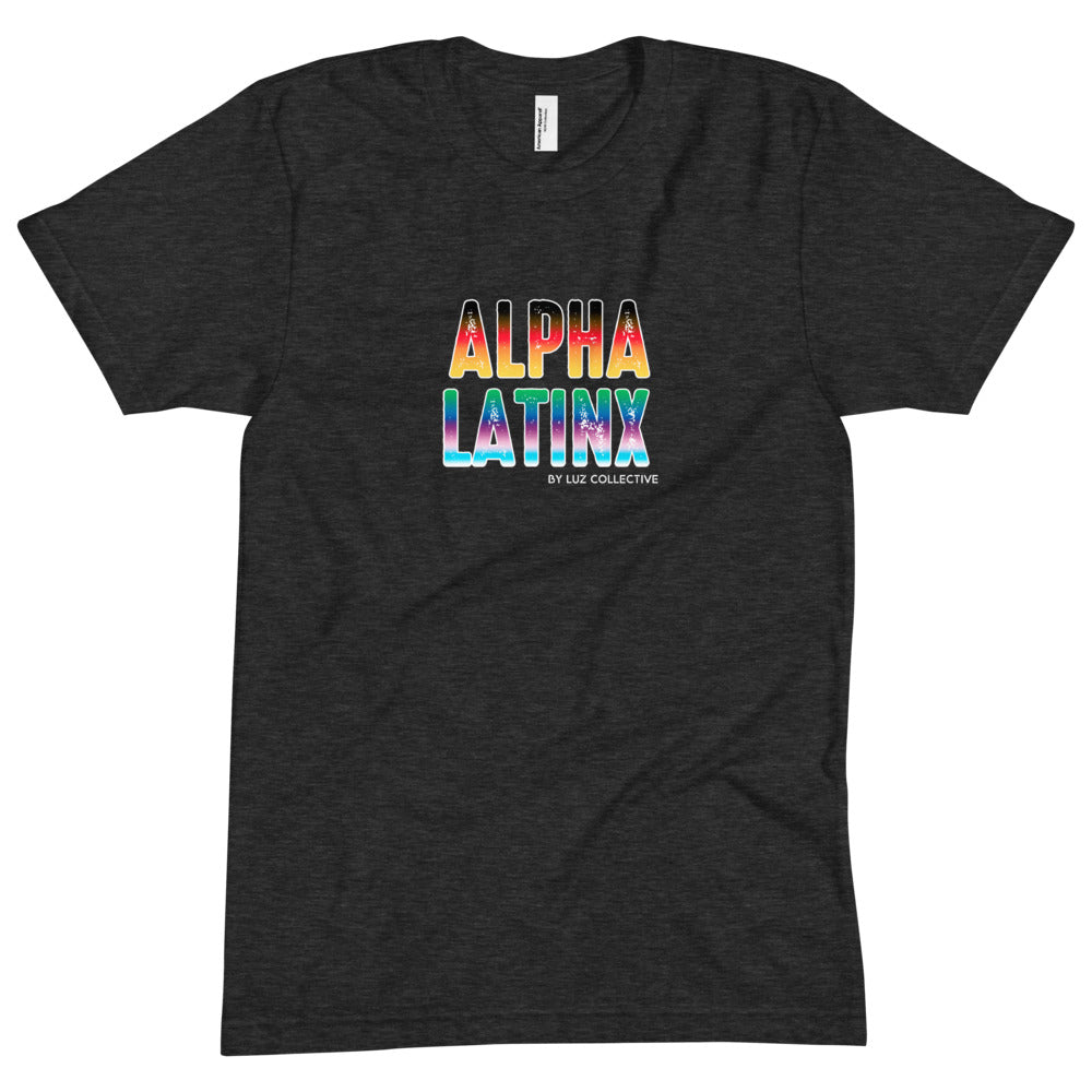 Alpha Latinx Pride Ultra Soft Black Short Sleeve Latin Empowerment Tee Extra Large