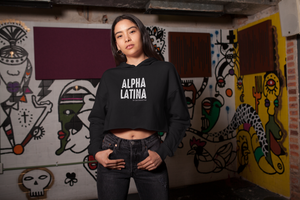 Alpha Latina women's empowerment black Crop Hoodie 2XL