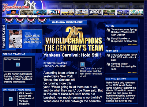 New York Yankees website in 2000.