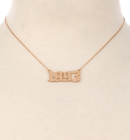 Old English Birth Year Pendant Necklace