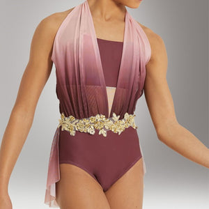 Draped Ombre Mesh Leotard