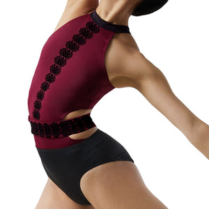Flocked Leotard with Belt