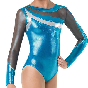 Mesh Sleeve Metallic Leotard
