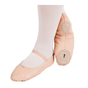 PW Leather Split Sole Ballet Shoe (White)