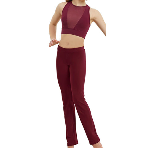 Plunge Neck Illusion Crop & Bootcut Pant Set