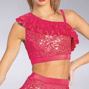 Ruffled Sequin Crop