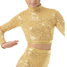 Load image into Gallery viewer, Long Sleeve Sequin Crop