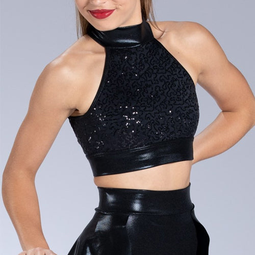 Sequin Metallic Crop Top