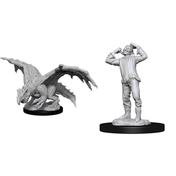 D&D Nolzur's Marvelous Miniatures Green Dragon Wyrmling & Afflicted Elf