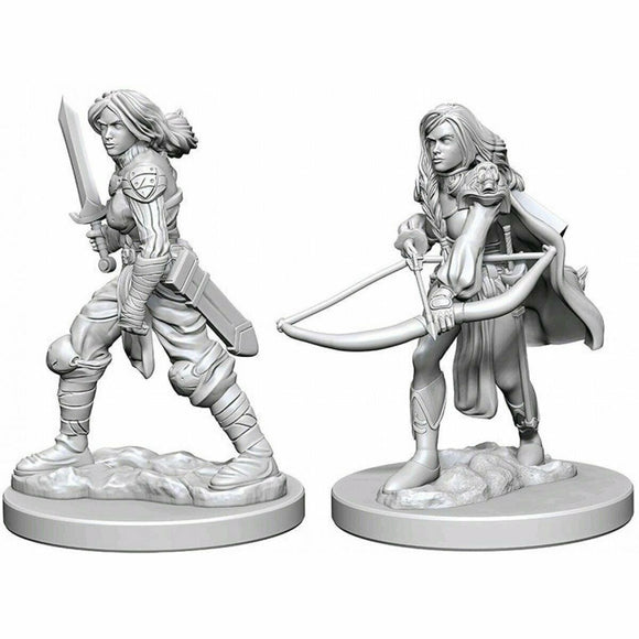 Discount Pathfinder Deep Cuts Unpainted Miniatures Human Female Fighter - West Coast Games