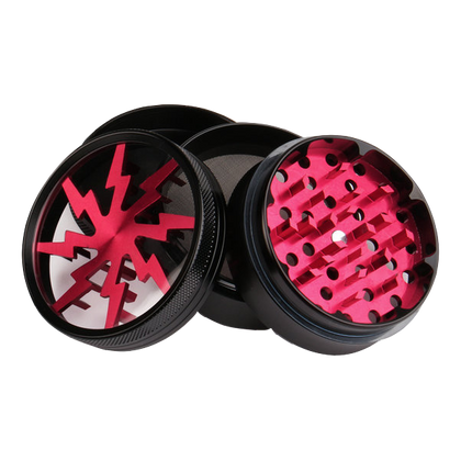 Lightning Bolt Herb Material Grinder Crusher Storage Container Collector 4 Layer 60mm Black Red