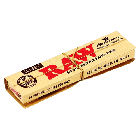 Raw Classic Masterpiece King Size Filter Tips Natural Unrefined Rolling Paper