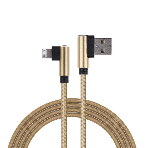 8pin Fast Charging Cable Nylon Charger 90 Degree USB Sync Cord for iPhone X 8 7