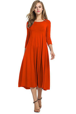 Women Cotton And Linen Vintage Dress Casual Loose Solid Long Draped Dresses