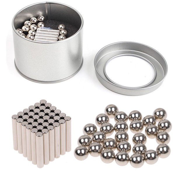 63pcs Neodymium Magnet Bars & Metal Balls Creative Magnets Permanent Magnets