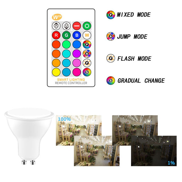 5W RGBW LED Bulb GU10 Color Changing Atmosphere Lighting Flash Strobe Lamp