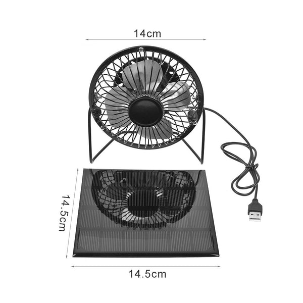 "4"" Portable USB Mini Solar Power Panel Cooling Fan Cooler Outdoor Home Travel"
