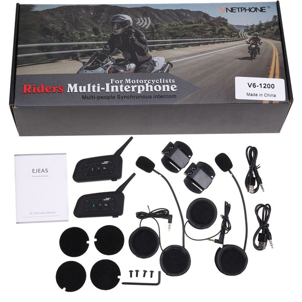 2X V6-1200 Bluetooth BT Motorcycle Helmet Interphone Headset Intercom