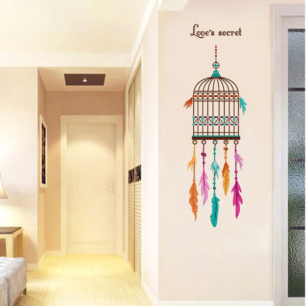 Feather Bird Cage Wall Sticker DIY Removable Vinyl Wall Decals