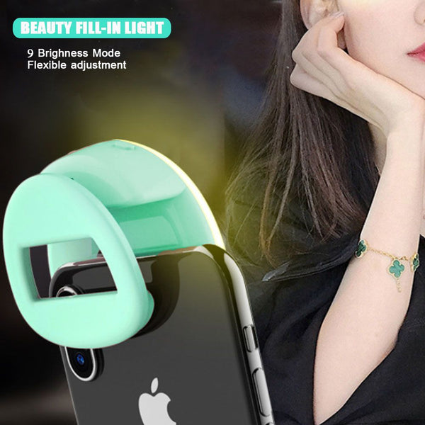 Selfie LED Clip-On Fill Light Camera Wide-Angle Lens Ring for Android iPhone