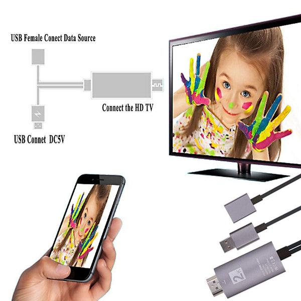 8 Pin to HDMI 2K 1080P Cable HDTV TV Digital AV Adapter for Apple iPhone/iPad