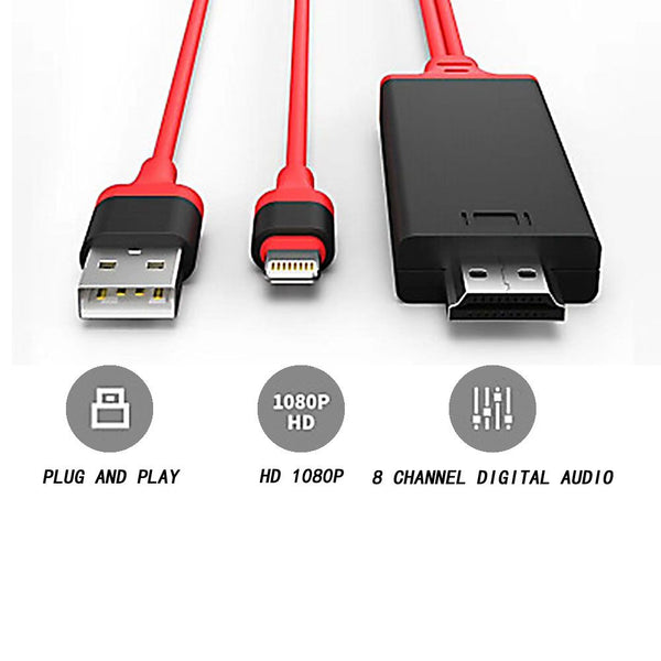 8 pin To HDMI HDTV Cable 1080P AV Adapter Airplay Mirror 2M for iPhone iPad