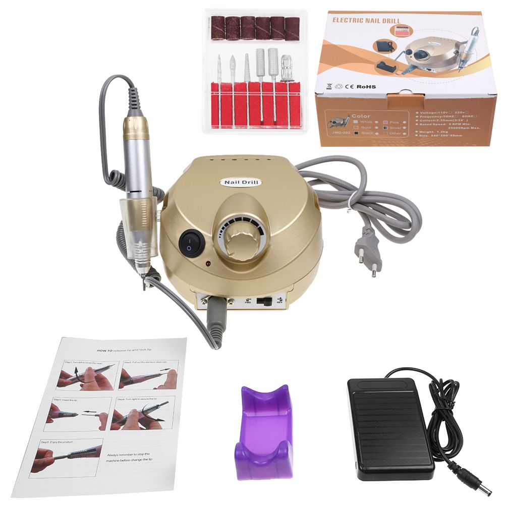220V 35000RPM Electric Manicure Pedicure False Nail Art File Drill Machine