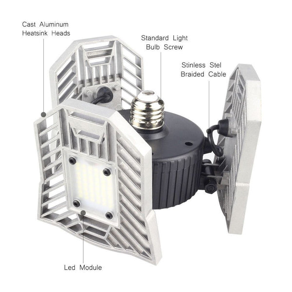 Deformable Garage Light Motion-Activated Ceiling Light4000LM Ceiling Light Radar
