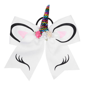 Cute Hair Band Sequin Cheer Bows With Rubber Band Girls Large Glitter Ponytail