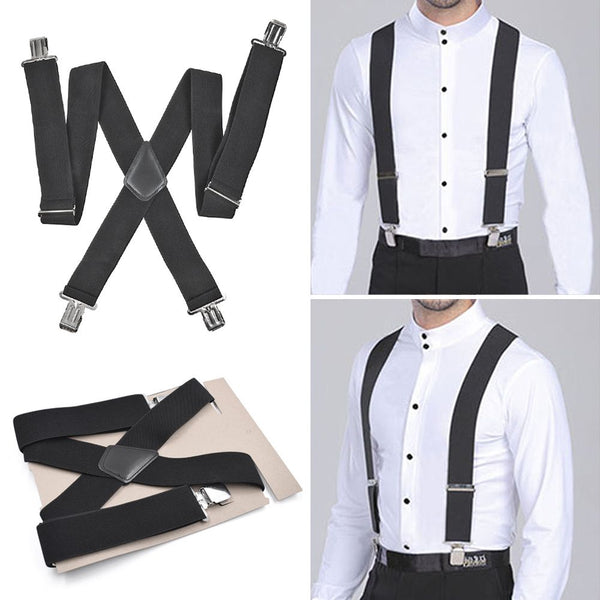 50mm for Men Suspenders 4 Clips Extra Wide X-Shape Pants Straps Elastic HOT