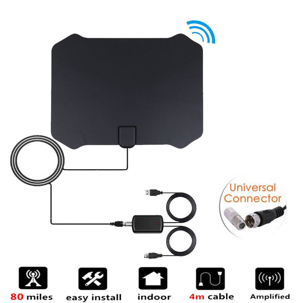 80 Mile HDTV Indoor Antenna Aerial HD Digital TV Signal Amplified Booster Cable