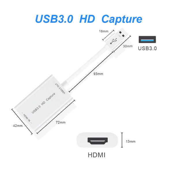 HDMI Video Capture Card Device USB3.0 1080P 60FPS Video & Audio Grabber Recorder